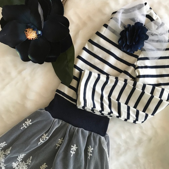 Dresses girls navy and white stripe flower lace dress poshmark girls navy and white stripe flower lace dress mightylinksfo